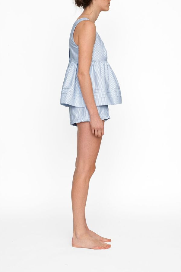 The Sleep Shirt Babydoll Top in Blue Oxford Stripe