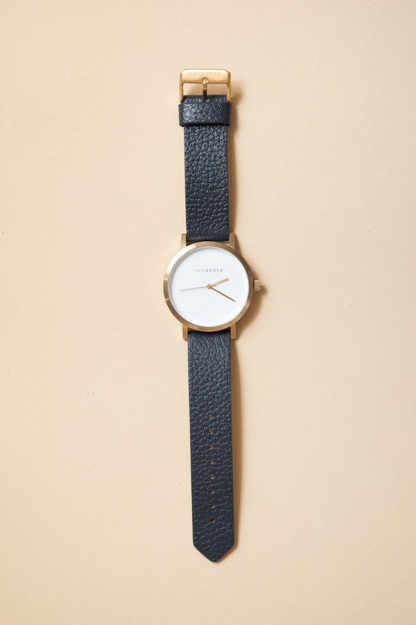 The Horse Original Leather Watch / Brushed Gold, White Face, Navy Band