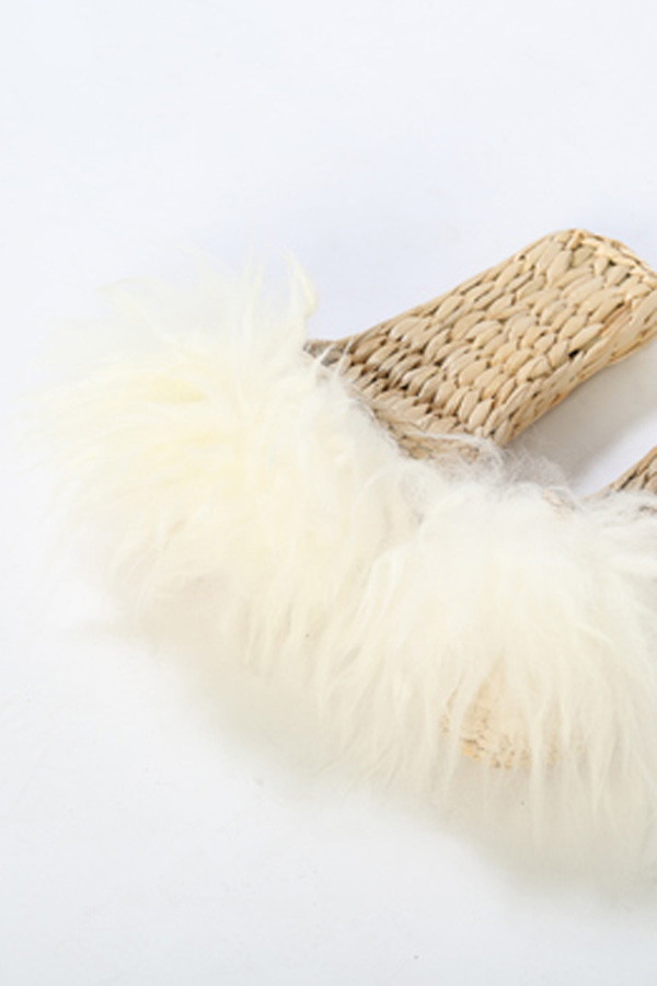 FOLK FORTUNE CREAM FUR SLIPPER