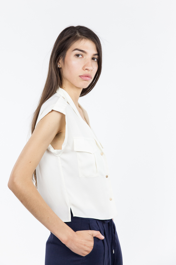 L'Academie Safari Crop Top - Ivory