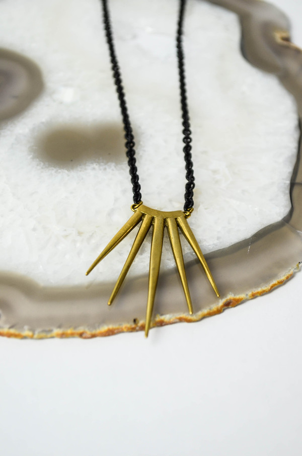 K/ller Brass Single Large Quill Burst Pendant
