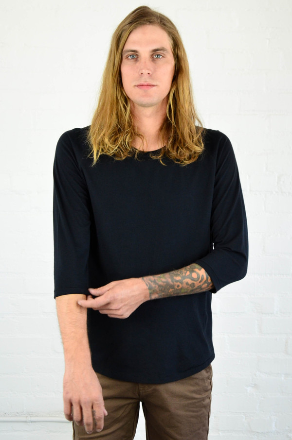 Men's Nudie Quarter Sleeve Organic Backbone Tee Black
