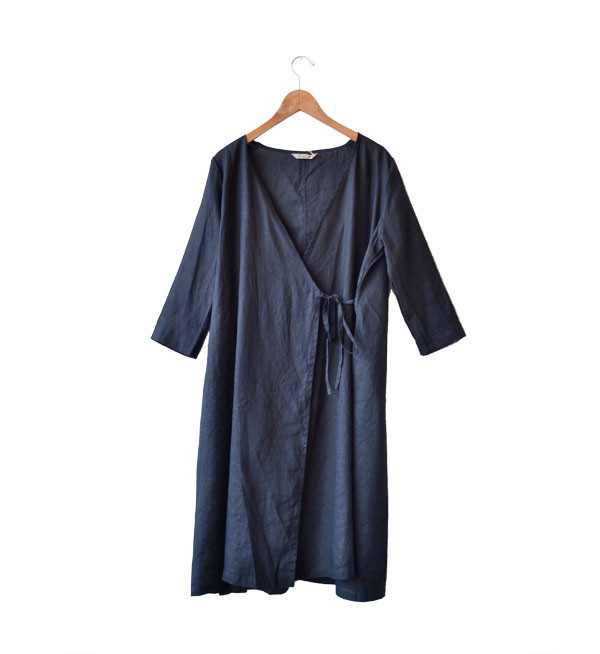 Fog Linen Black Nuit Chika Wrap Dress