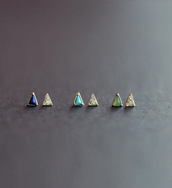 Mociun Turquoise Mismatched Triangle & Diamond Earrings