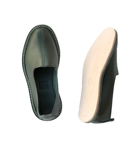 Vayarta Olive Leather Slip-Ons