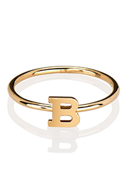 Letters By Zoe - Gold Single Letter Ring
