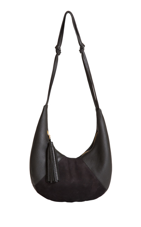 OLIVEVE cezy hobo bag in black pebbled leather / black suede
