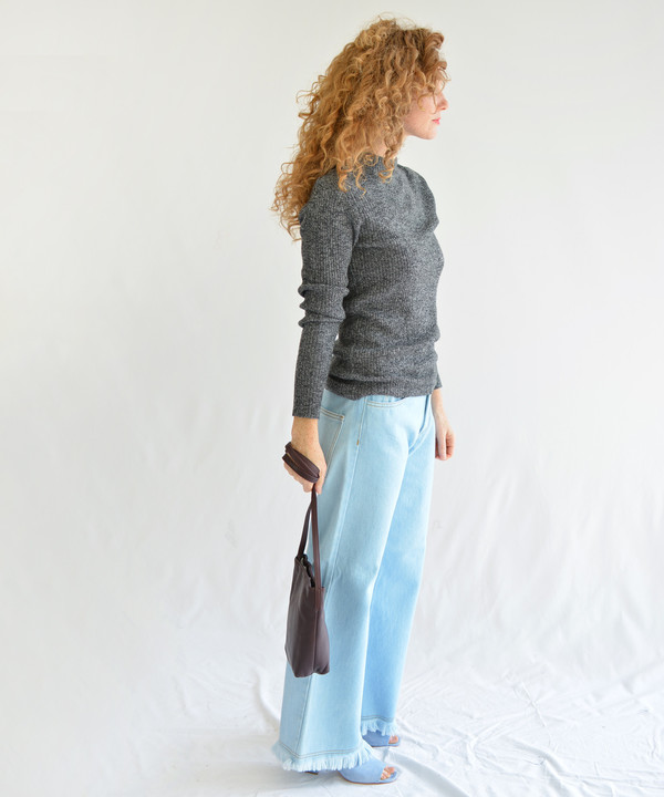 Micaela Greg Speckle Grey Stagger Rib Turtleneck