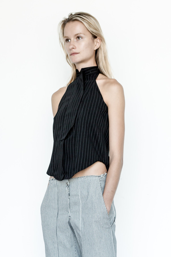 Assembly New York Business Stripe Cutaway Top