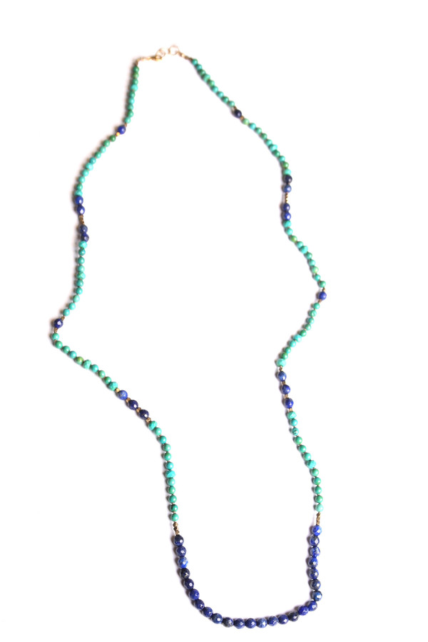 Lapis & Turquoise Knotted Necklace