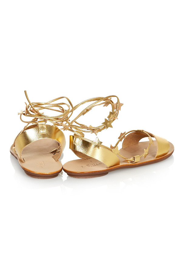 Loeffler Randall - Starla Gold Leather Ankle Wrap Flat Sandal