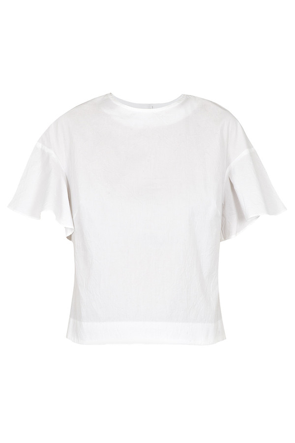 Apiece Apart - White Cropped Serra Ruffle Arm Top