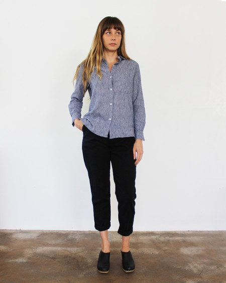 Esby West Lake Button Down - Indigo Srtipe
