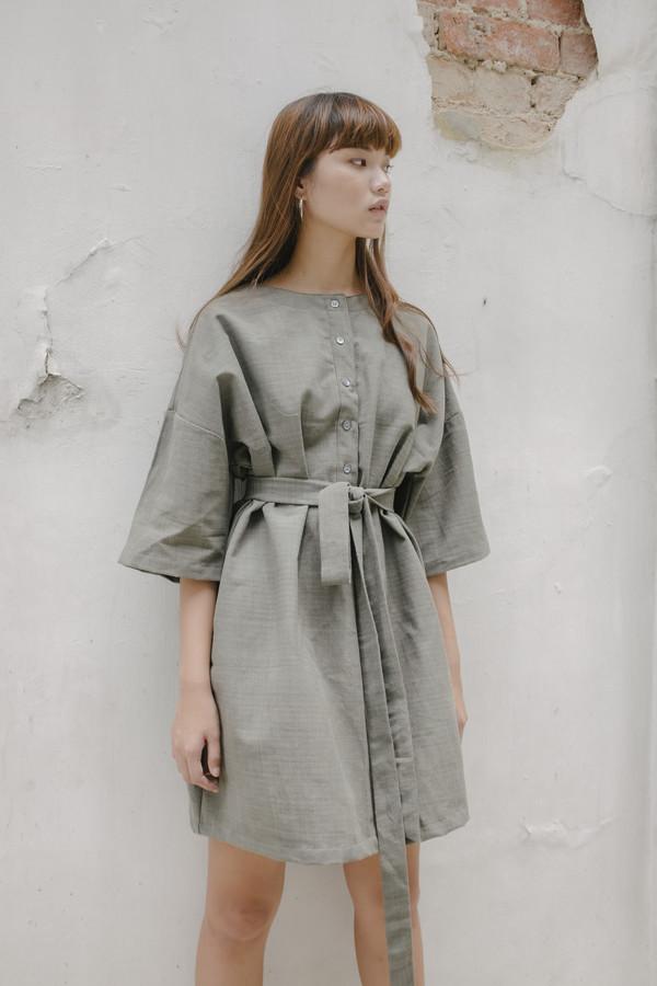 Two-way Button Dress - Grey