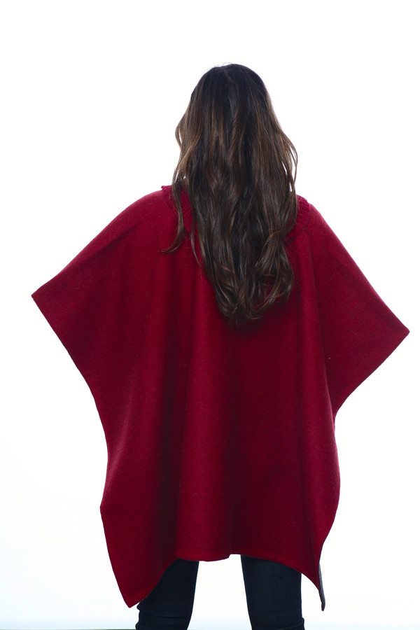 Stick & Ball Knit Collar Poncho
