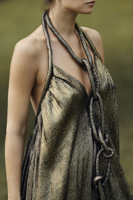 Electric Feathers Long Infinite Rope Dress