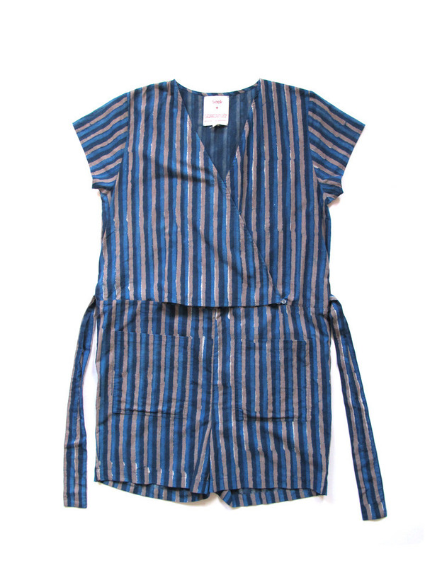 Seek Collective Sample Sale / Shorts Jumpsuit, sky stripes