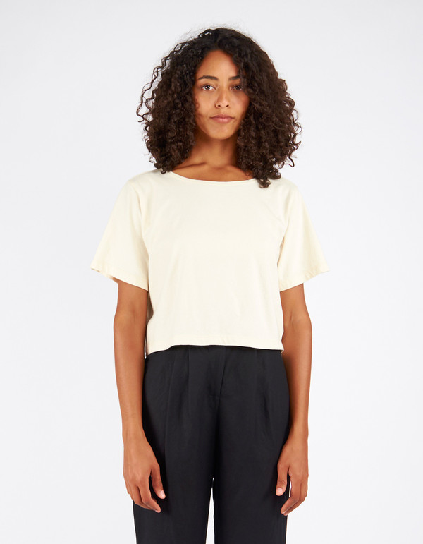 Pansy Crop Tee Natural