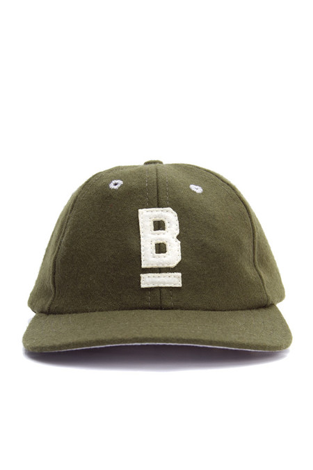 Men's Bridge & Burn B Flat Wool Cap Olive