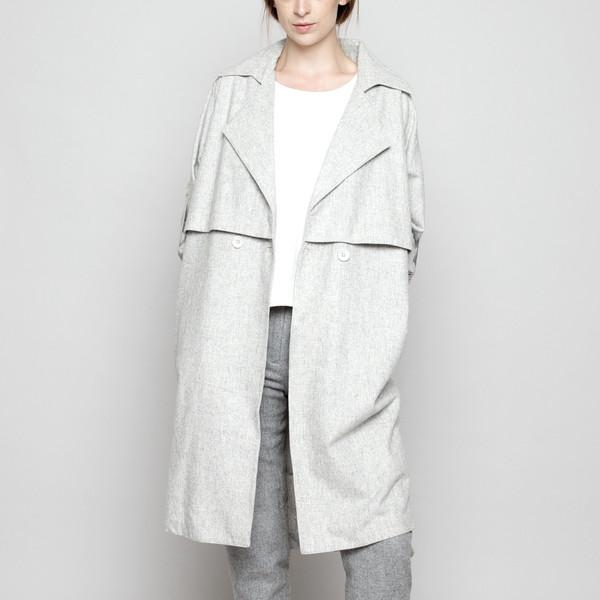 7115 by Szeki Wool Trench Coat - Gray FW16