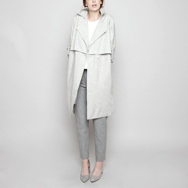 7115 by Szeki Wool Trench Coat - Light Gray FW16