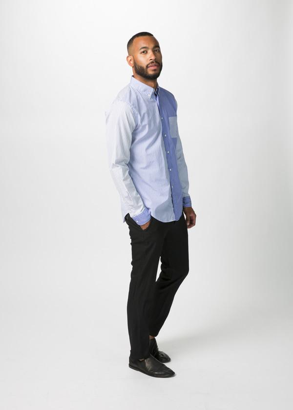 Men's Wooster + Lardini Panel Woven Stripe Shirt - Blue