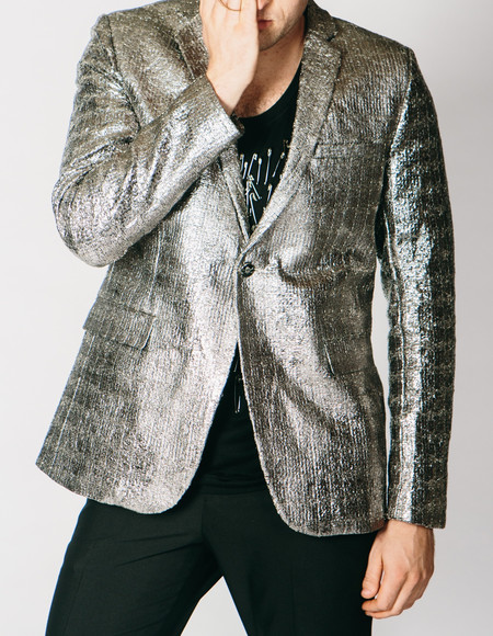 Men's Any Old Iron Silver Metallic Jacket