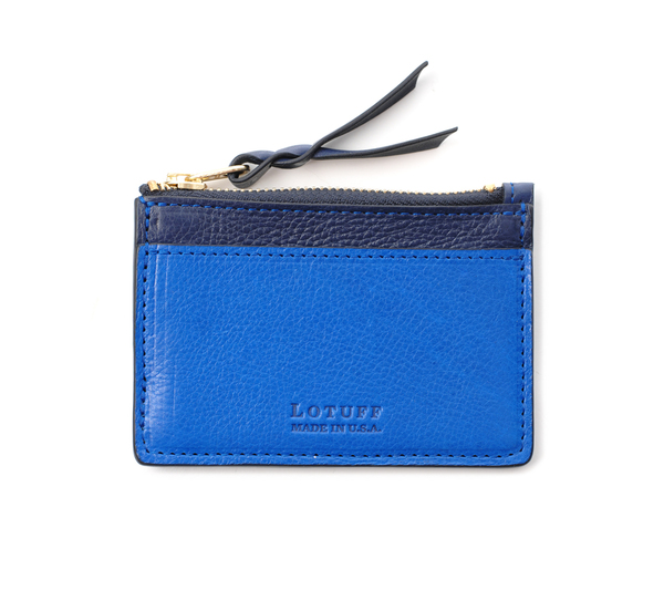 Lotuff Leather Black and Electric Blue Card Case Wallet