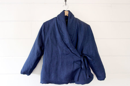 pietsie Gobi Wrap Jacket in Blue Linen
