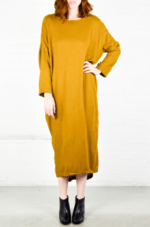 Black Crane Gold Brown Pleated Cocoon Dress