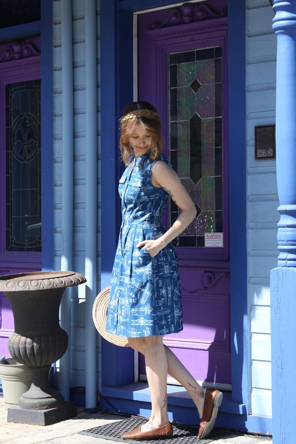 Birds of North America Lovebird Dress (Blue Planes)