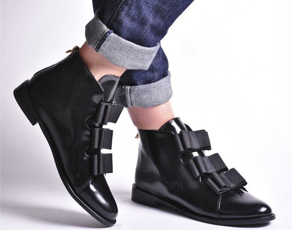 F-TROUPE BLACK LEATHER BOW BOOT
