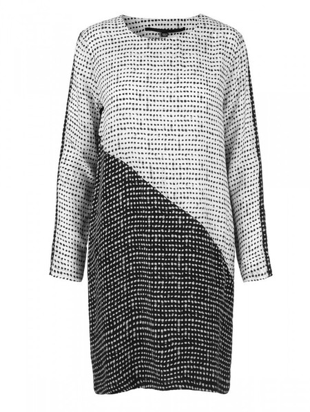 "Just Female ""Dorothy"" Long Sleeve Color Block Printed Cupro Dress"