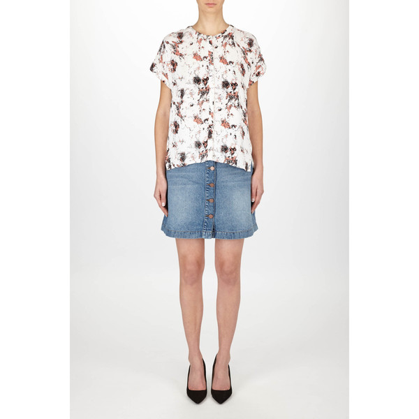 "Just Female ""New Marble"" Short Sleeve Printed Blouse"