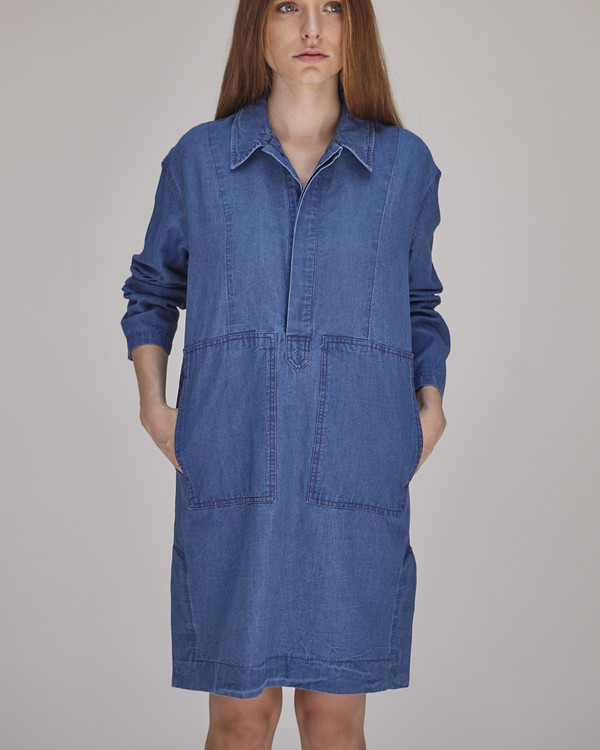 Caron Callahan William Dress in Indigo
