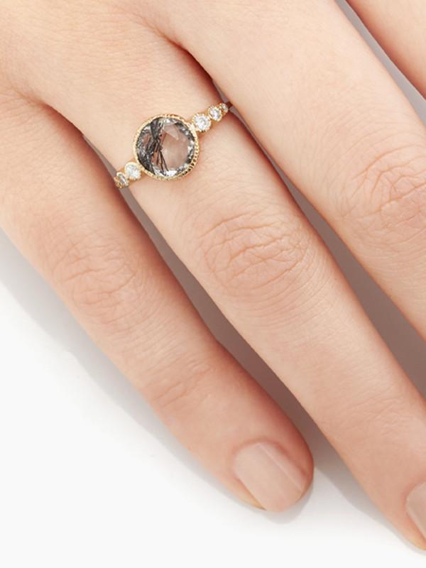 Vale Aurora Ring with Tourmalinated Quartz