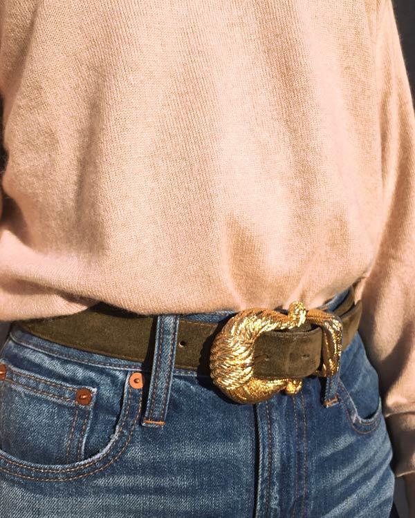 Vintage Italian Sueded Calfskin Belt
