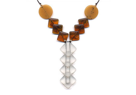 I. RONNI KAPPOS STACKED DIAGONAL SQUARES Y-SHAPE NECKLACE