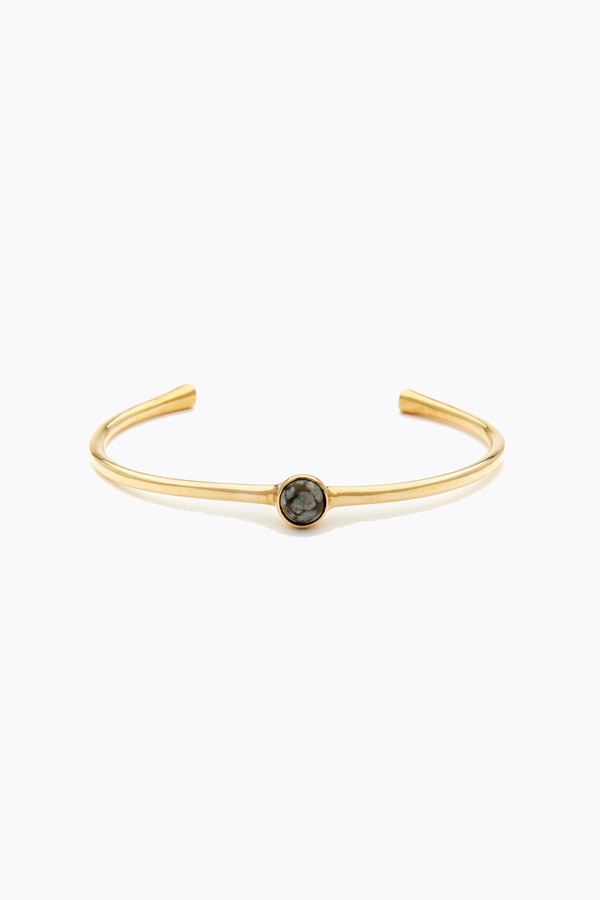 Odette New York Astra cuff in brass & snowflake obsidian
