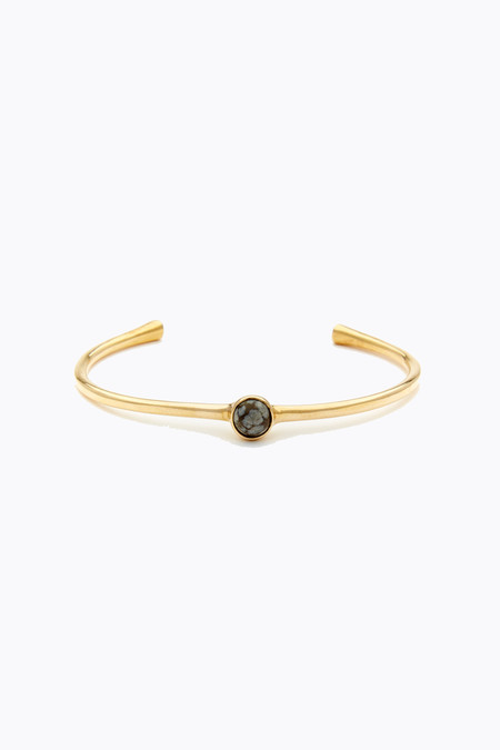 Odette New York Astra cuff in brass & snowflake obsidian