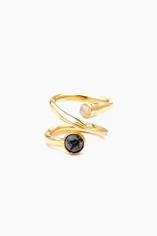 Odette New York Axis ring in brass, snowflake obsidian & moonstone