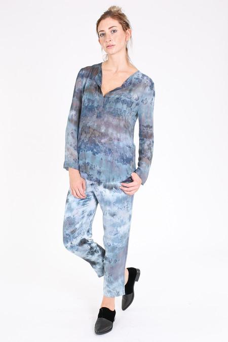 Raquel Allegra Chiffon henley blouse in Midnight