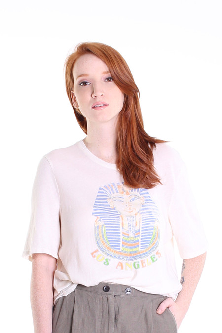 Raquel Allegra Egyptian lover boxy tee in dirty white
