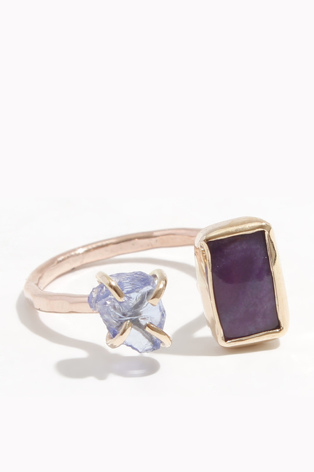 Melissa Joy Manning Limited edition sugilite and raw tanzanite ring