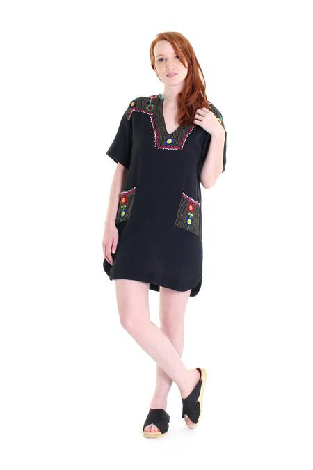 Antik Batik Nana embroidered mini dress in black