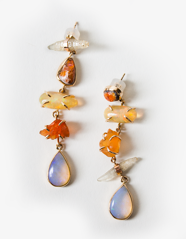 Melissa Joy Manning One of a kind mixed opal earrings