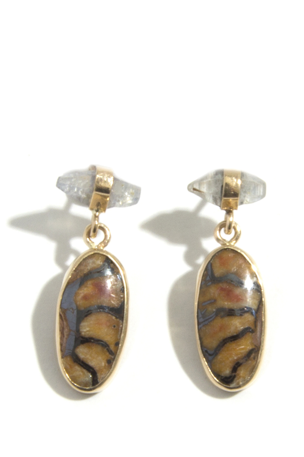 Melissa Joy Manning Sapphire and brazilian flower crystal earrings