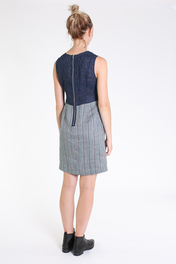 Nuthatch Shift dress in blue combo stripe