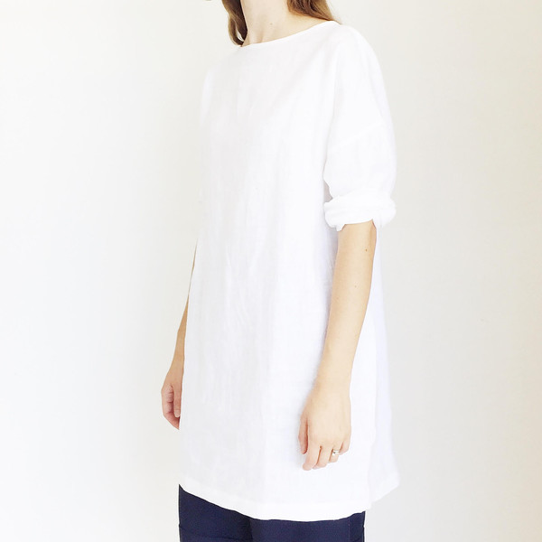 LLOYD White Linen Tunic