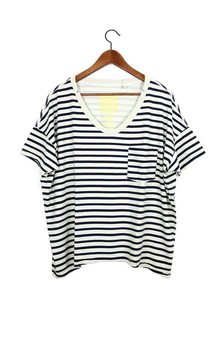 Skargorn #61 Short Sleeve Tee, Cream Marine Lines